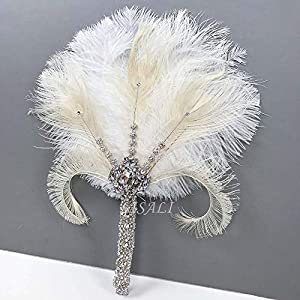 LISALI Feather Bouquet, Brooch Bouquet,Bridal alternative Ostrich Feather Fan, Bridal Bouquet, Great Gatsby 1920s Bouquet Bridesmaid Fan wedding 90