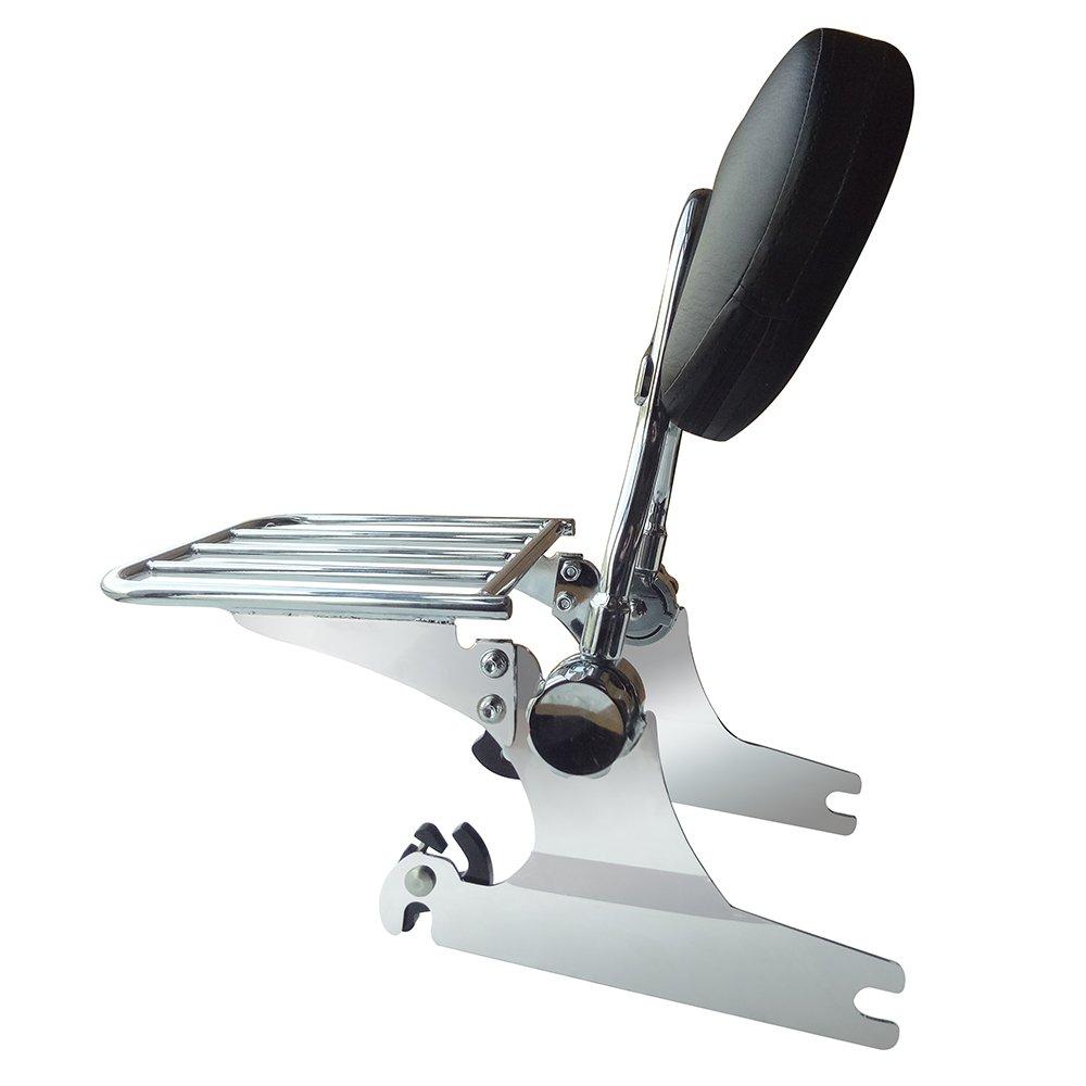 VBROS NEW Chrome Adjustable Detachable Passenger Backrest Sissy Bar Rack Fit Harley Davidson Softail Deluxe Models 2005 2006 2007 2008 2009 2010 2011 2012 2013 2014 2015