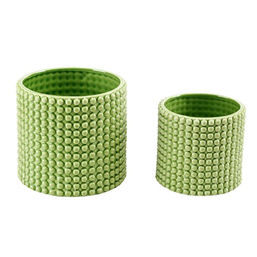 Set of 2 Pistachio Green Ceramic Hobnail Textured Planters, Vintage-Style Flower Pots (Sage Green Glazed)