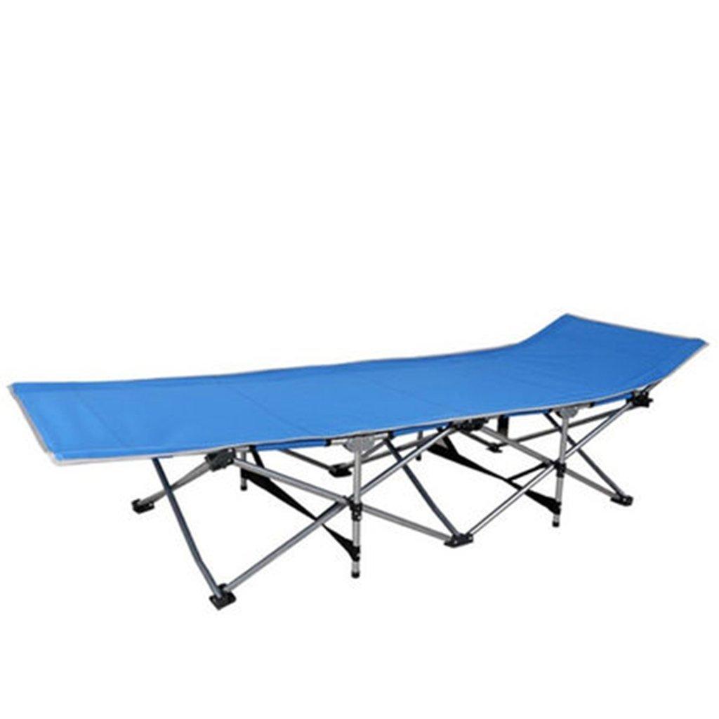 Stühle Armee Klappbett Outdoor-Feld Mittagspause Home-Office Casual Einzigen Erwachsenen Mini-Feldbett im Freien tragbar (Farbe : Blau)