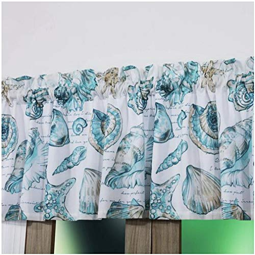 Finely Stitched Seaside Seashell Coastal Beach Inspired Print Window Treatments Tab Top Curtains Valance 100% Polyester Aqua Blue Green, 84 inch Wide - Includes Bed Sheet Straps