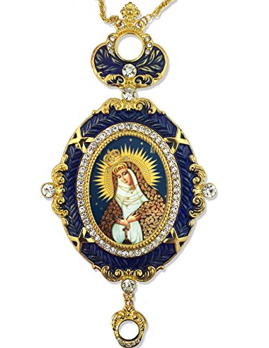 Our Lady Of Mercy Blue Framed Icon Pendant Crown Religious Room Decoration 5 3/4 Inch ()