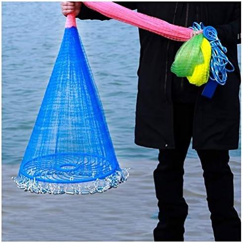 漁網 投げ網 投網 投げ 魚 手 漁を 漁に 仕掛け キャスト 罠トラップ 釣り 網を 網 ネット 魚キラー 漁具,のために適した 淡水 塩水 川 湖 海 捕獲 引っかかっ 捕らえ 魚 エビ カニ 漁業 漁師,螺旋式 折り畳み式,ナイロン ライン,半径 1.35 m - 2.7 m,網目 1 cm