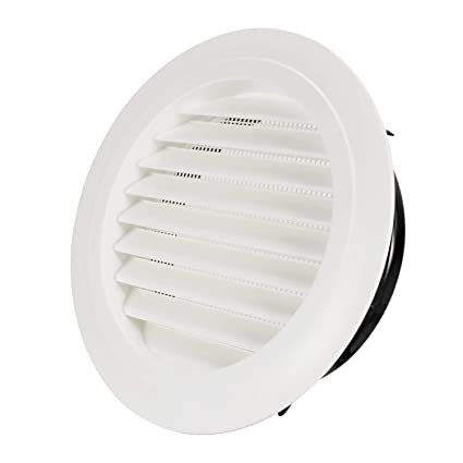 Hon&Guan ø200mm Ronda Rejilla de Ventilación ABS con Protección Contra Insectos , Respiraderos de Láminas para