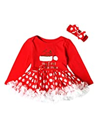 My First Christmas Dress, Baby Girl Princess Tutu Dress + Headband Clothes Set