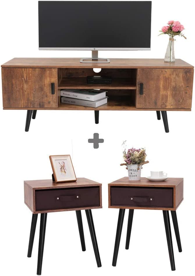 Iwell Mid-Century TV Stand & Side Table Bundle for Living Room, Nightstand, TV Console, Office Sofa Table, Cocktail Table, Storage Cabinet