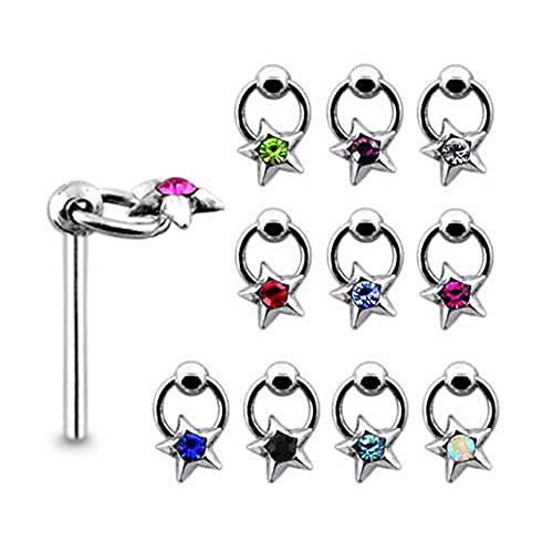 5 Pieces Mix Color Jeweled Star on Moving Ring Sterling Silver 22 Gauge Straight Nose Pin ()