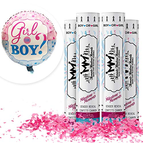 Gender Reveal Confetti Cannon Bundle- Baby Reveal Party Supplies with 18 inch Gender Reveal Boy or Girl Balloon (4 Pack, Pink)