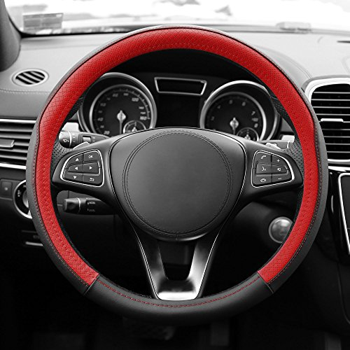 FH GROUP FH2009 Geometric Chic Genuine Leather Steering Wheel Cover- Fit Most Car, Truck, Suv, or (Porsche Steering Wheel)
