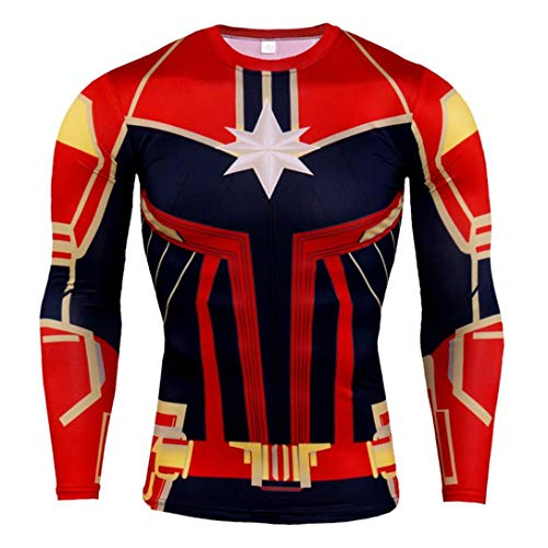 HIMIC E77C Hot Movie Super Hero Quick-Drying ElasticT-Shirt Costume (Large,Captain Marvel Long -