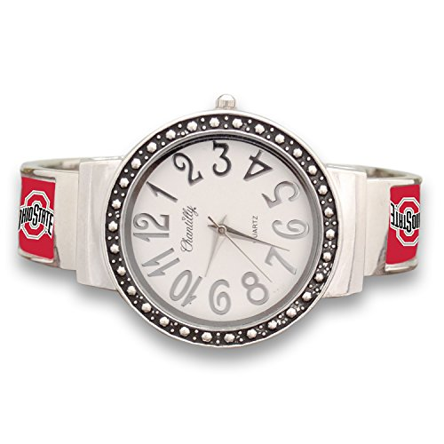 - FTH Ohio State Buckeyes Cuff Watch with Silver Tone Accent
