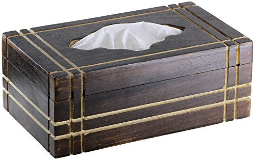 Items Tiki Tissue Box Cover - 100% Wood Tissue Box Cover Holder Tissue Dispenser Rectangular Wooden Box