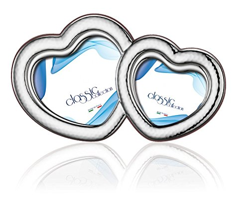 DOUBLE STERLING SILVER Picture Frame HEARTS. Made in (Sterling Silver Heart Picture Frame)