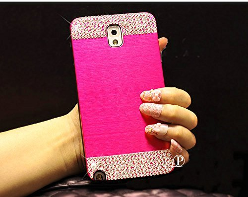 Galaxy Note 3 Case ,LA GO GO(TM) Beauty Luxury Diamond Hybrid Glitter Bling Hard Shiny Sparkling with Crystal Rhinestone Metal Aluminum Back Cover Case for Samsung Galaxy Note 3 N9000 (Hot Pink, Galaxy Note 3)