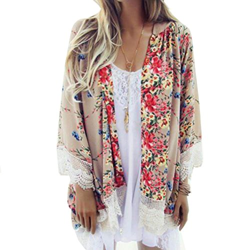 MIXMAX Women Flowy Sheer Crop Sleeves Loose Chiffon Kimono Cardigan Blouse Top (Medium, Lace 2)