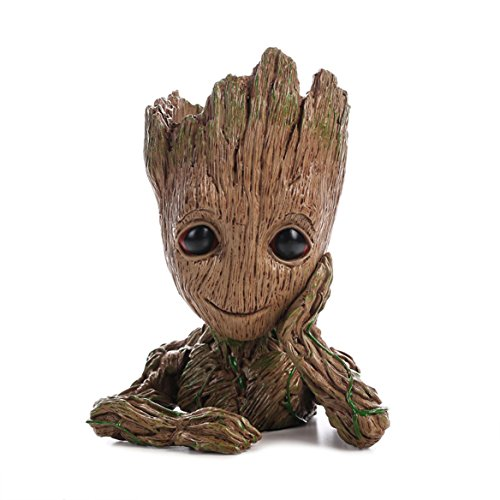 HEYFAIR Treeman Baby Groot Star-Lord Pen Cactus Succulent Planter Pot Container Multifunction Desk Organizer Accessories (Vintage Baby Planters)