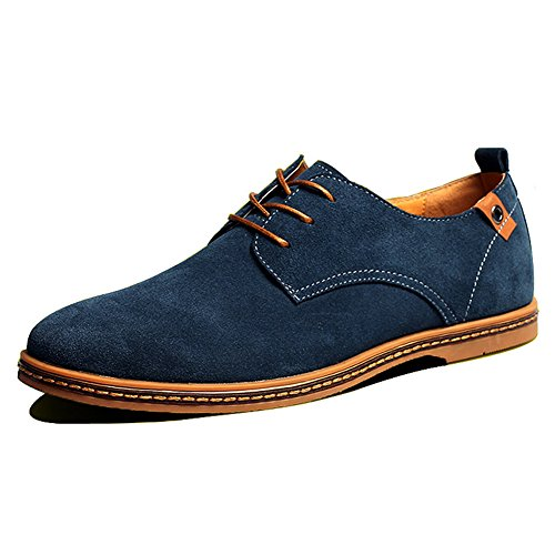 SHIBEVER Men's Leather Classic Oxfords Casual Shoes lace-up Flats loafers Blue - Lightweight Oxfords Suede