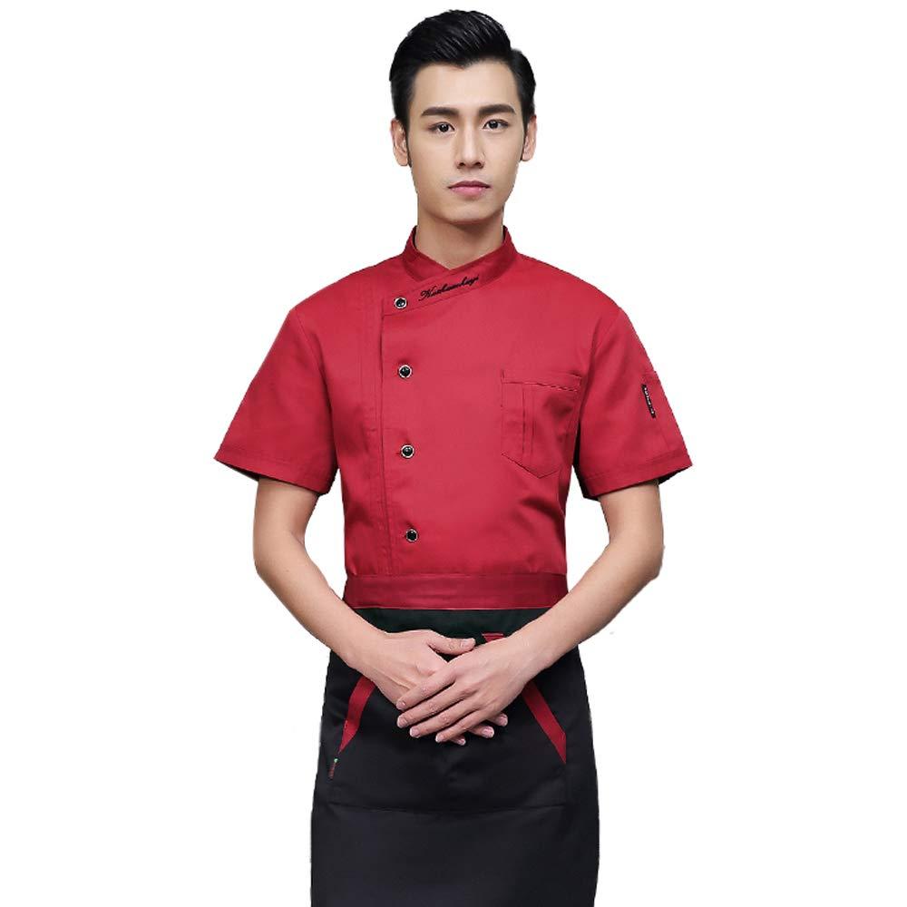 BOZEVON Kurzarm Koch Uniformen - Unisex Mode Mantel Kurzen Ärmeln Jacken Küche Koch Mantel Uniformen Kellner Arbeit Kleidung