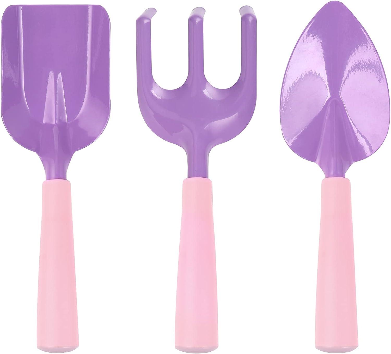 Yocharm 3 PCs Kids Gardening Set Trowel Rake Shovel Children's Garden Tools Pink Purple Kids Garden Tools Gardening Gifts for Kids Girls