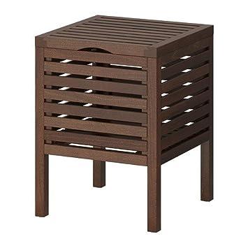 Superbe Ikea MOLGER Tabouret Avec Rangement Pour Salle De Bain Marron Foncé
