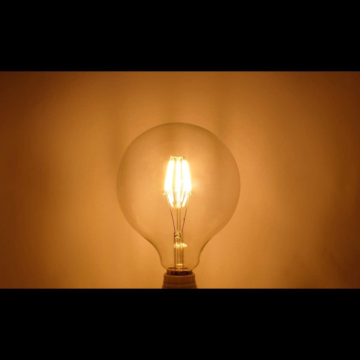 ECD Germany 10 x LED Filament de lampoule E27 Edison 8W 125 mm 816 Lumen 120 /° Angle de courant alternatif 220-240 V reste cach/é et remplace 45W Ampoule de Lampe incandescent Blanc Chaud