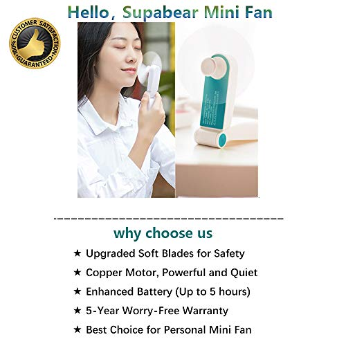 Supabear Personal Handheld Fan, Mini Portable Pocket Fan, Small Travel Cell Phone Fans USB Rechargeable for Home Sports Outdoor Travel, 2 Speeds Strong Wind (Turquoise)