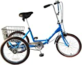 Worksman Port-o-Trike Three Speed Adult Tricycle Blue