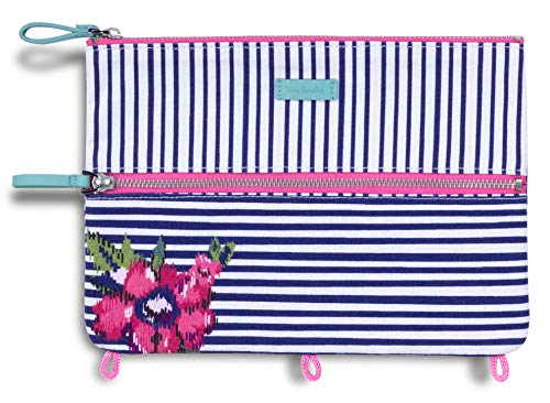 Vera Bradley Binder Pencil Pouch Toiletry Travel Bag with Zip Close (Ikat Bouquet)
