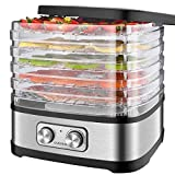 Food Dehydrator Machine EVERUS Food Dryer Dehydrator for Beef Jerky, Fruits, Vegetables, Adjustable Temperature Control Electric Food Dehydrator with 5 BPA-FreeTrays, 240W, Recipe Book Included