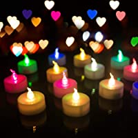 Homemory 24 Pack LED Tea Lights Candles, 7 Color Changing Flameless Tealight Candle...