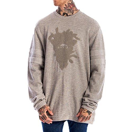 Crooks & Castles Men's Drifter Crew Sweatshirt, Speckle Grey, M/M