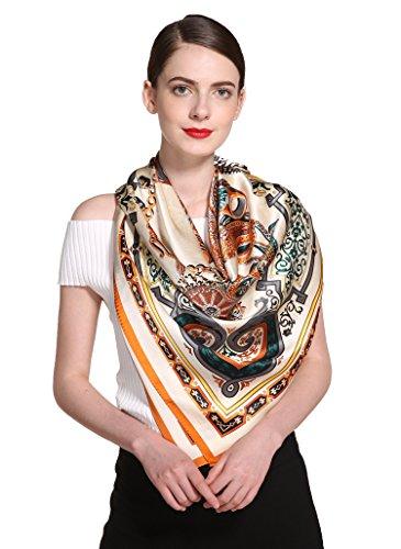 Ornamental Silk - Grace Scarves 100% Silk Scarf, Extra-Large, Ornamental Gems, Orange