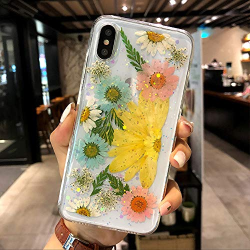 iPhone Xr Flower Case for Girls, Shiny Beautiful Elegant Glitter Dried Real Pressed Floral Clear Flexible Soft Silicone Crystal Heavy Duty Cover Slim Shockproof [Support Wireless Charging] -