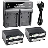 Kastar 2x Battery + Fast Dual Charger for Sony NP-F970 NP-F975 NP-F960 NP-F950 NP-F930 NP-F770 NP-F750 NP-F730 NP-F570 NP-F550 NP-F530 NP-F330 and 308C TTV-204 Pad-22 LED Video Light, Moniter Battery