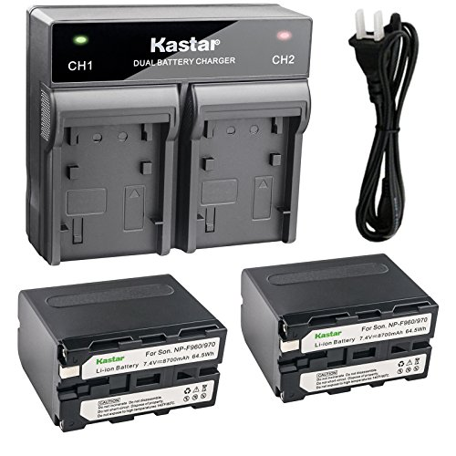Kastar 2x Battery + Fast Dual Charger for Sony NP-F970 NP-F975 NP-F960 NP-F950 NP-F930 NP-F770 NP-F750 NP-F730 NP-F570 NP-F550 NP-F530 NP-F330 and 308C TTV-204 Pad-22 LED Video Light, Moniter Battery by Kastar