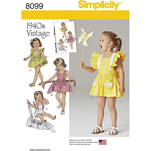 Simplicity Creative Patterns Simplicity Patterns Toddlers' Romper and Button-on Skirt Size: A (1/2-1-2-3-4), (Baby Skirt Pattern)