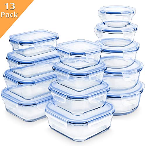 Enther 26 Pieces 13 PACK Glass Food Storage Containers Meal Prep with Lids Airtight Bento Box for Lunch Oven/Freezer/Dishwasher/Microwave Safe Leakproof, 7 to 52 oz, Clear ()