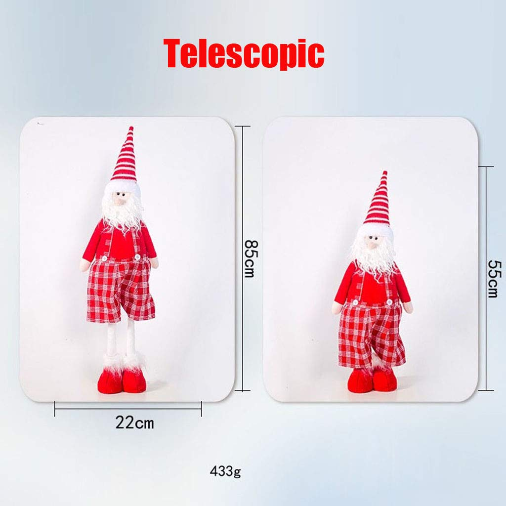 DOGZI Mu/ñeca navide/ña de piernas largas Mu/ñeca de Tela de Santa Claus con Tela Escocesa Mu/ñeco de Navidad
