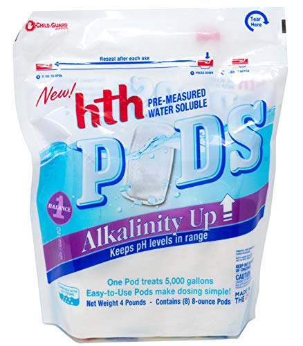 hth 67053 Pre-Measured Water Soluble Pool Chemical Pods, Alkalinity Up, 8 ()