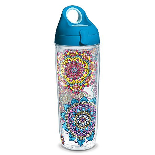 Tervis 1225055 Colorful Mandalas Tumbler with Wrap and Turquoise Lid 24oz Water Bottle, Clear (Bottle Water Tervis)