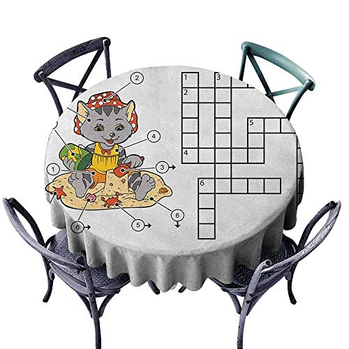 ScottDecor Decorative Round Tablecloth Jacquard Tablecloth Word Search Puzzle,Crossword Game for Children Cute Cat on Beach and Building Sand Castles, Multicolor Diameter 50
