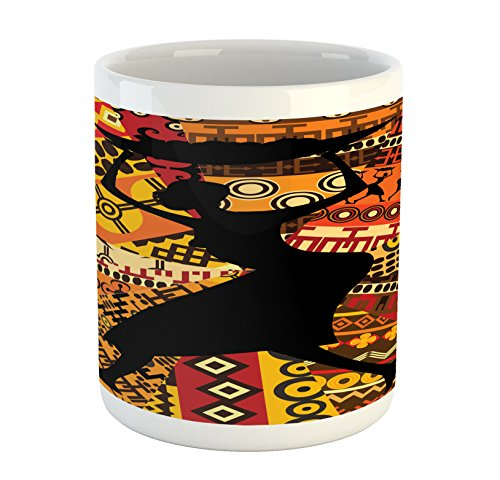 Ambesonne African Woman Mug, Silhouette of a Indigenous Woman Carrying a Basket on Traditional Patterns, Printed Ceramic Coffee Mug Water Tea Drinks Cup, Multicolor