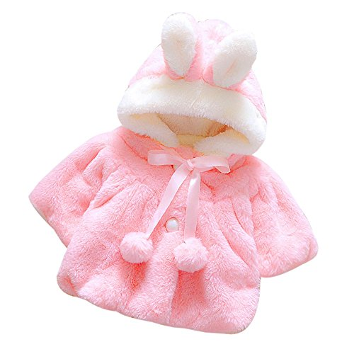 Kehen Baby Toddler Girls Fluffy Faux Fur Bunny Ears Bowknot Hooded Dress Coat (6M, Deep (Hooded Silk Coat)