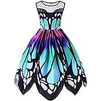 Paymenow Women Plus Size Holiday Beach Party Dress Lace Splice Butterfly Printed Sleeveless Irregular Hem Swing Dress