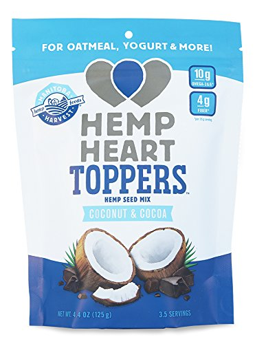 Manitoba Harvest Hemp Heart Toppers, Cocoa & Coconut, 4.4oz; with 10g protein& Omegas, 4g fiber per Serving, Non-GMO
