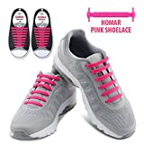 Homar No Tie Shoelaces In 13 Colors For Kids And Adult - Best In Sports Fan Shoelaces - Elastic Shoe Laces Turn Your Shoes Into A Slip-on Perfect For Sneaker Boots Oxford And Casual Shoes - Pink | amazon.com