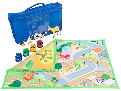 "MMP Living Kids double sided felt play mat - 2 in 1 city & farm - 19"" x 12"" travel size mat with 4 animals, 4 vehicles and fabric pouch"