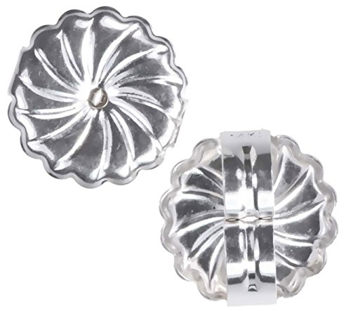 14K White Gold Jumbo Swirl Earring Backs Jumbo 9mm (1 Pair) ()