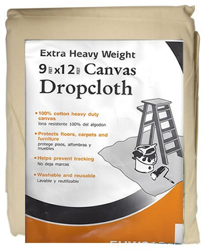 Paint Essentials 9-Feet x 12-Feet Canvas Drop Cloth EHW912 Extra Heavy Weight