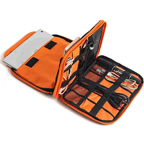 METORY Travel Accessories Electronics Organizer, Universal Cable Management Organizer Travel Bag For USB, Phone, iPad, Charger and Cable (Double Layer, Large, Grey and Orange) by METORY (Image #2)